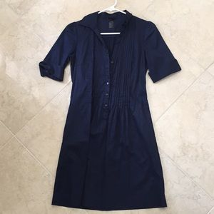 H&M navy blue pin tuck button down dress